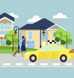 the girl calls a taxi walks down city street vector image