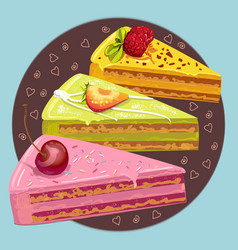 Three colorful pieces of sweet cake vector image