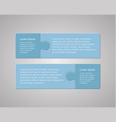 two pieces steps puzzle jigsaw square infographic vector image