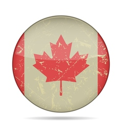 Vintage button flag of Canada - grunge style vector