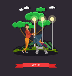 walk with baby concept in flat vector image