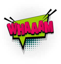wham sound comic book text pop art vector image