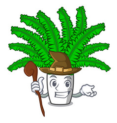 Witch cartoon natural green fern in the forest vector