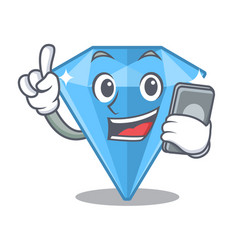 With phone sapphire gems isolated in character vector