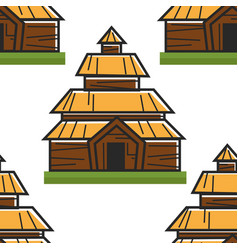 wooden house norwegian ancient building seamless vector image