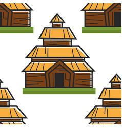 Wooden house norwegian ancient building seamless vector
