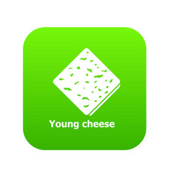 young cheese icon green vector image