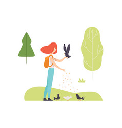 young woman feeding birds in park girl relaxing vector image