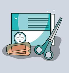 Aid band box with scissor pharmacy tools vector