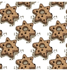 Christmas pattern with gingerbread cookies vector image vector image