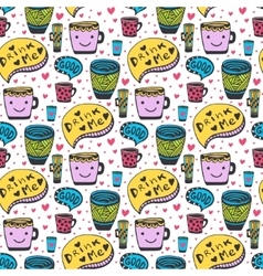 Cute doodles tea and coffee pattern Doodle smiley vector image