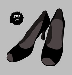 pair classical black shoes with vector image