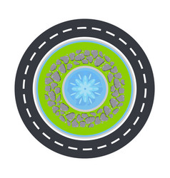 road circle and fountain inside top view vector image vector image