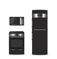 Set of black household appliances vector image vector image