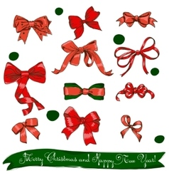 set of red bows vector image