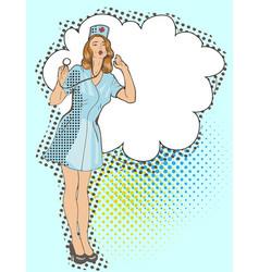 smiling sexy nurse pop art vector image