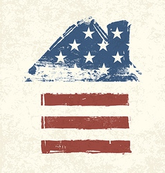 american flag house shaped vector image