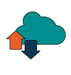 cloud with upload and download arrows icon image vector image