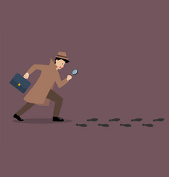 detective investigate is following footprints vector image