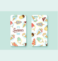 template phone case with icecream and text summer vector image