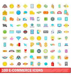 100 e-commerce icons set cartoon style vector image vector image