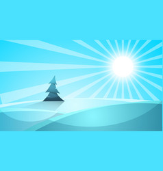 cartoon snow landscape sun snow fir vector image