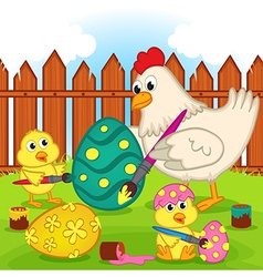 chicken and chicks painting easter egg vector image