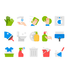 flat cleaning set icons cleaning tools vector image vector image