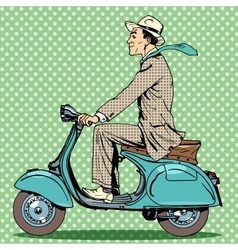 man rides on a vintage scooter vector image vector image