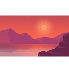 At sunset moountain landscape of silhouettes vector image vector image