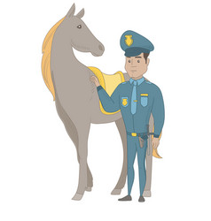 young hispanic police officer and horse vector image
