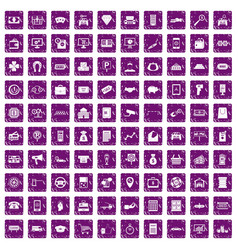 100 coin icons set grunge purple vector