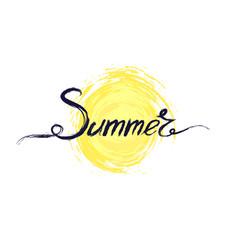 acrylic handwritten text summer above symbol vector image