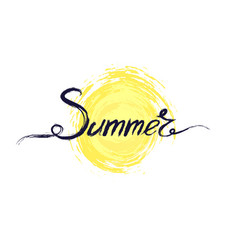 Acrylic handwritten text summer above the symbol vector