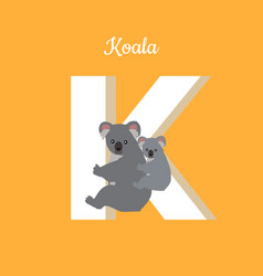 Animals alphabet letter - k vector
