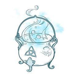 Blue boiling magic cauldron vector