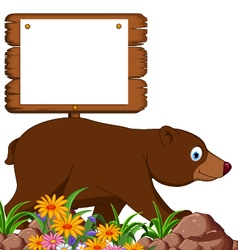 brown bear cartoon in the jungle vector image