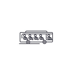 bus with passengers line icon sign vector image