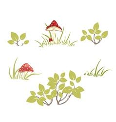Bushes grass mushrooms vector