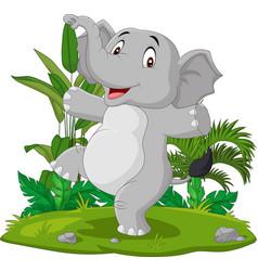 cartoon happy elephant dancing in grass vector image