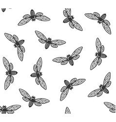 cicada insects seamless pattern with white vector image