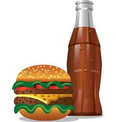Cola and hamburger vector