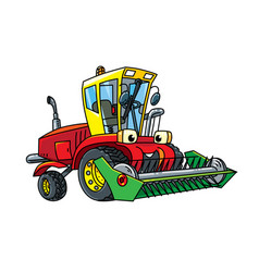 Combine or lawn mower with eyes vector