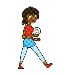 Comic cartoon soccer girl vector