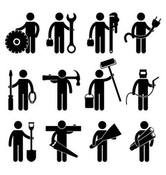 construction worker job icon pictogram sign vector image