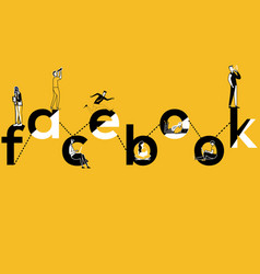 Creative word concept facebook and people doing vector