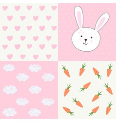 Cute baby shower pattern with rabbit vector