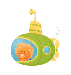 Cute lion looking out submarine window vector