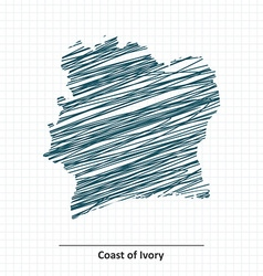 Doodle sketch of coast of ivory map vector