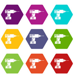 drill icons set 9 vector image